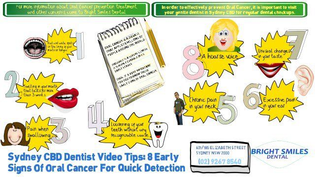 Sydney CBD Dentist Video Tips: 8 Early Signs Of Oral Cancer For Quick Detection Visit us on http://brightsmilesdental.com.au/