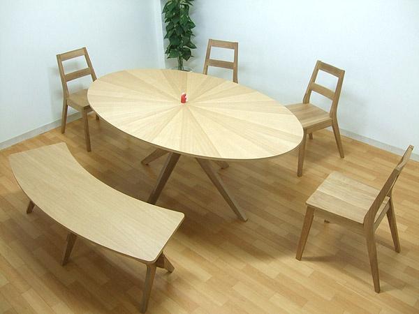 北欧 楕円190ダイニングセット6点イス4ベンチorionナチュラル色6人用 Scandinavian dining table ¥92500円 〆03月28日