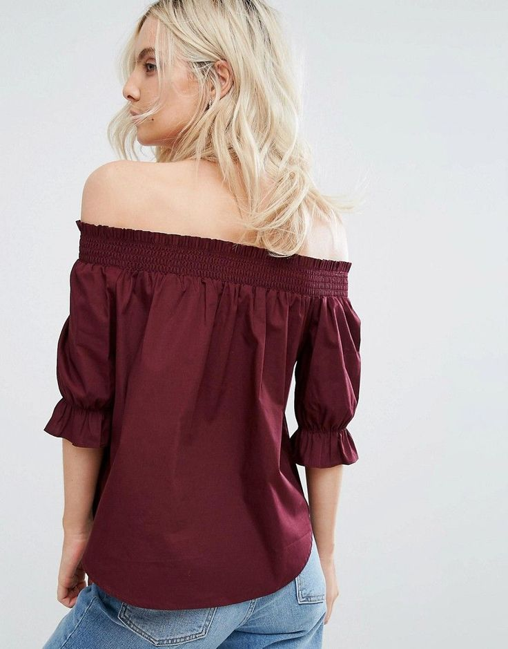 New Look Petite Ruched Bardot Top - Red