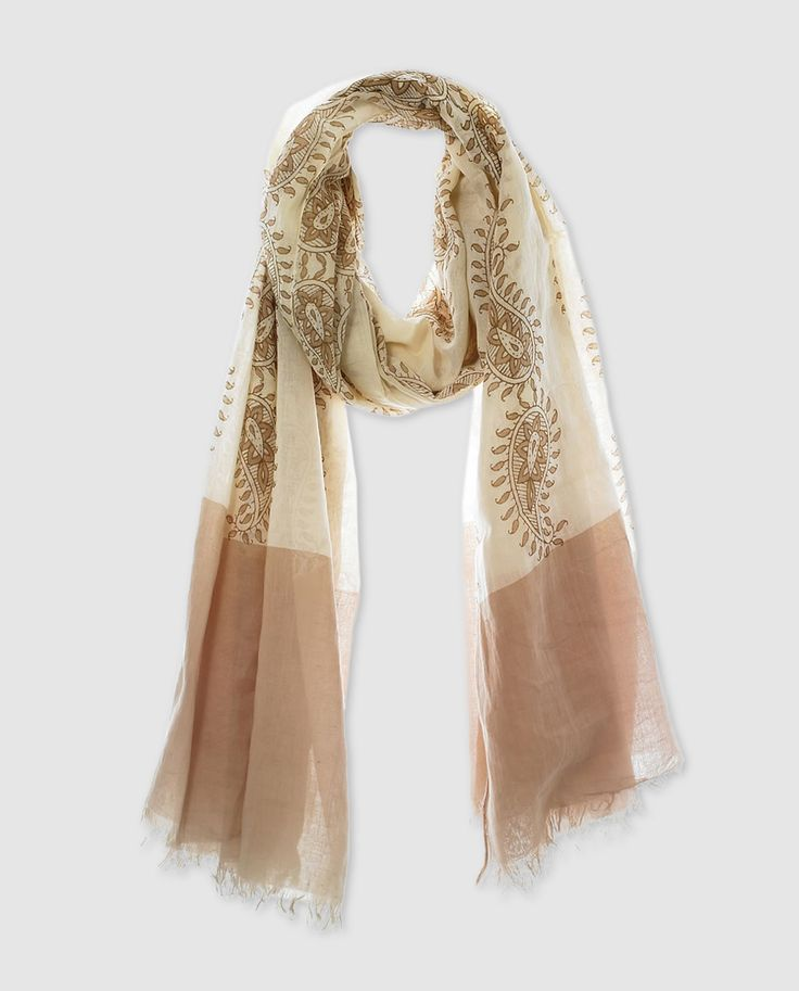 Fular de algodón estampado en tonos beige