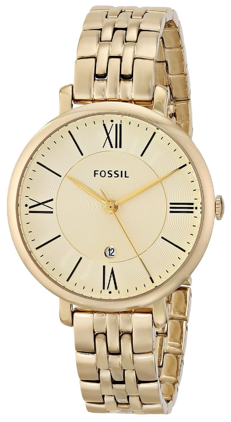 Fossil Women S Es3434 Jacqueline Gold Tone Stainless Steel