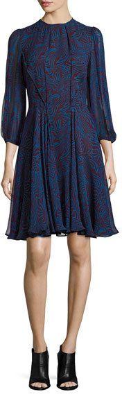 Derek Lam Abstract-Print Chiffon Dress, Red Pattern