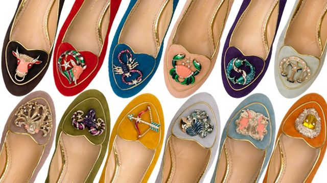 Charlotte Olympia has us head over heels in love with her latest collection of shoes, designed to celebrate the twelve Zodiac signs. Each pair of gold trimmed suede flats features a gorgeous hand-painted enamel symbol, embellished with Swarovski crystals. Any adventurous Aries, balanced Libra, or big-hearted Leo would wear their sign proudly in these to-die-for shoes!