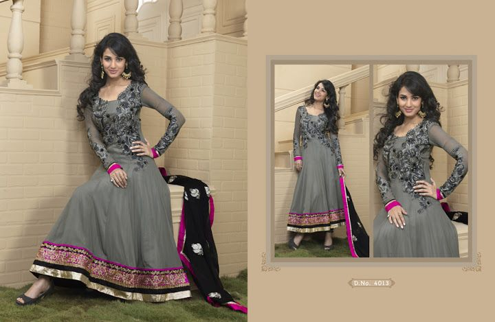 The dazzling grey georgette churidar suit have amazing embroidery patch work is done with resham and zari work. Beautiful embroidery work on kameez is stunning. The entire ensemble makes an excellent wear. Matching churidar and black dupatta is available with this suit. Slight Color variations are possible due to differing screen and photograph resolutions  @4990/-only  ORDER:PLEASE SEND US EMAIL