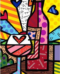 Food & Wine by Romero Britto #food #wine #art