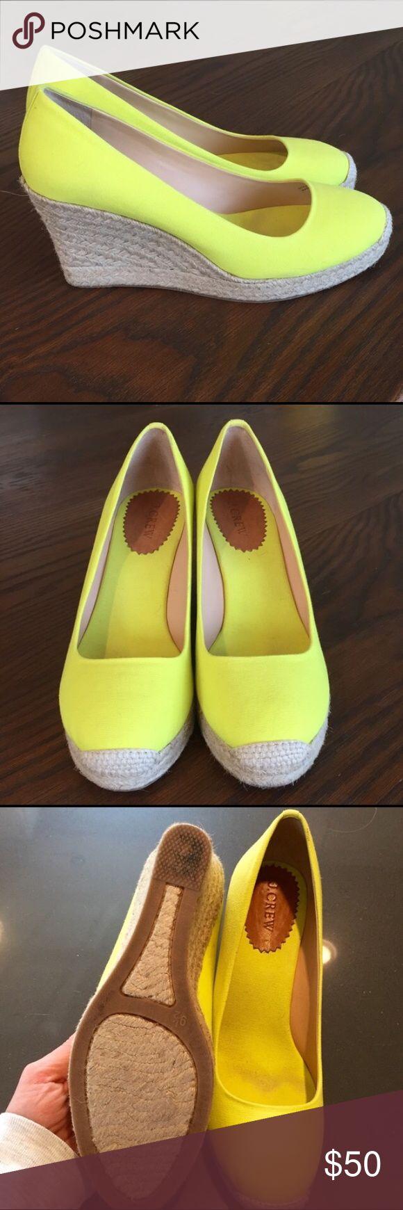 J. Crew Neon Yellow Espadrilles J. Crew Neon Yellow Espadrilles wedges. Super cute. Worn twice. J. Crew Shoes Espadrilles
