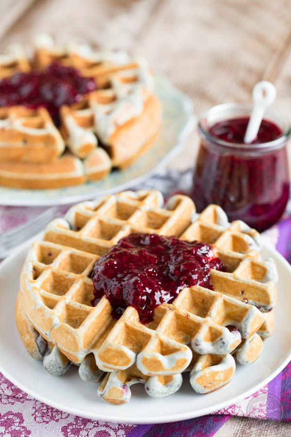Blackberry lemon waffles make the perfect brunch entree! These waffles are perfectly light and crisp with just the right amount of jam dispersed throughout.