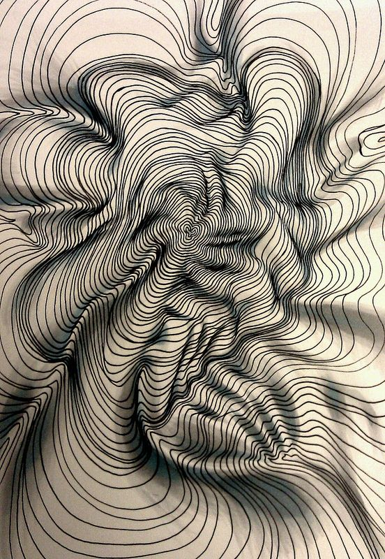 Line Texture Drawing : Textural pattern contoured line with d effect