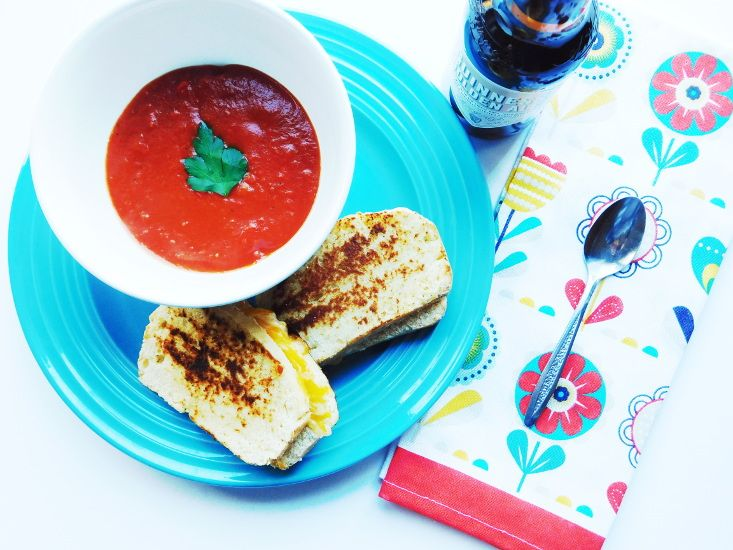 Tomato & Roasted Red Pepper Soup with Pimento Grilled Cheese