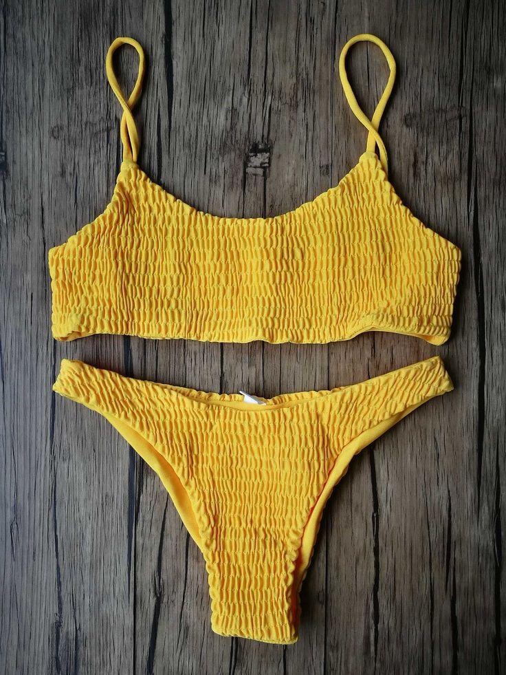 15% OFF resorts wear for womens swim.  yellow bikini set mustard seamless bathing suit crop top swimming clothes