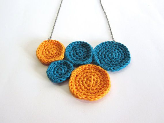Orange turquoise necklace. Statement necklace.Handmade crochet