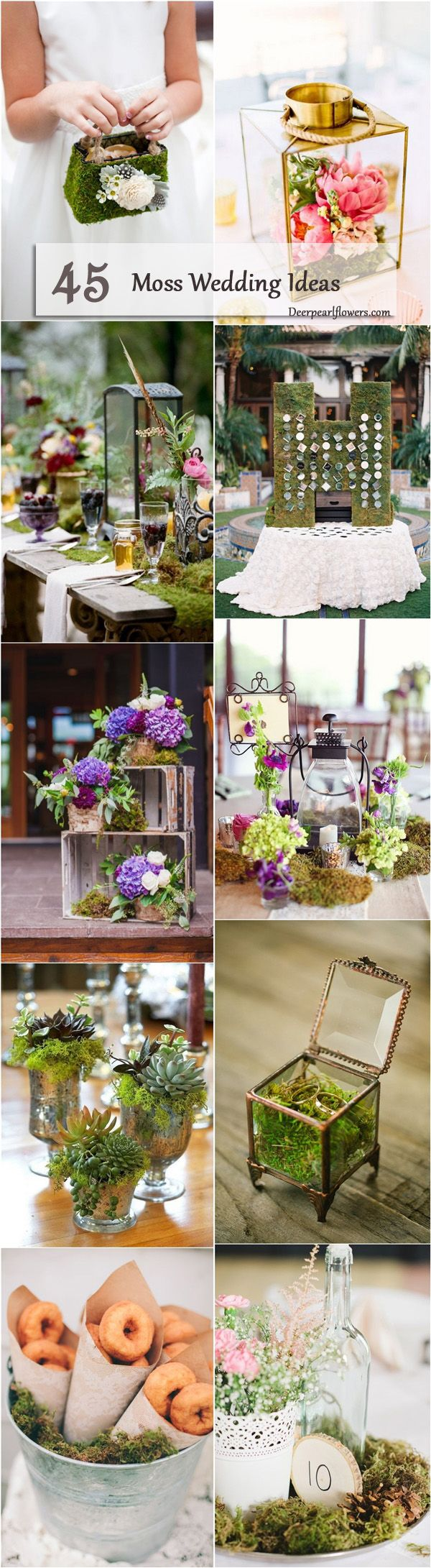 Woodland moss wedding decor ideas