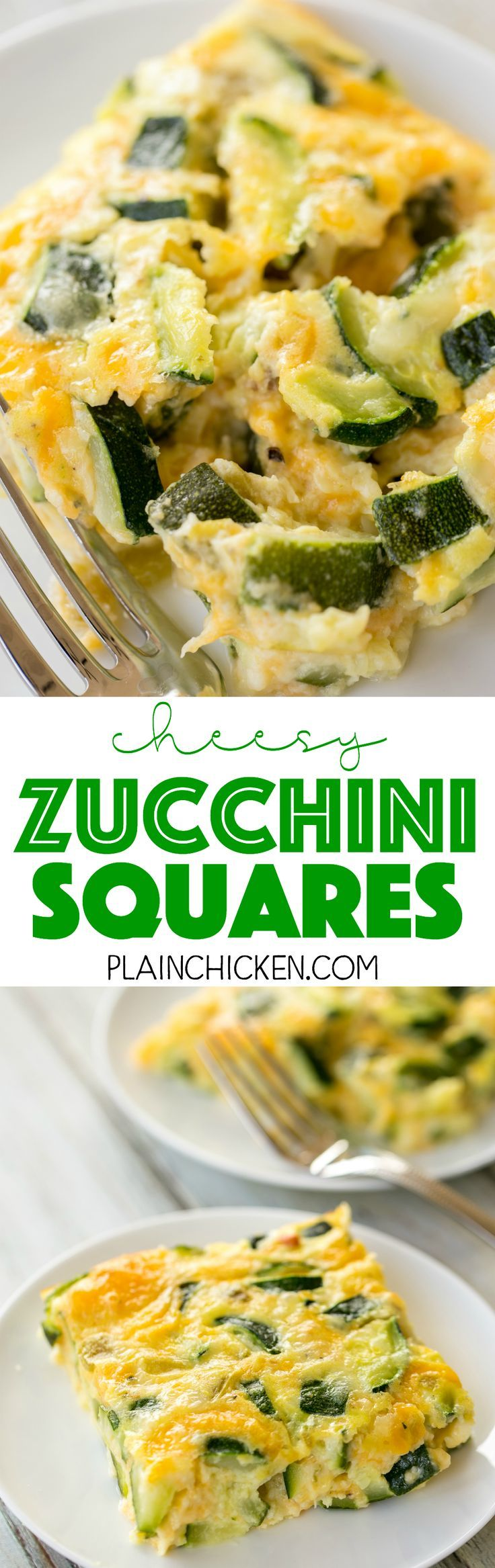 Cheesy Zucchini Squares - DELICIOUS side dish or breakfast casserole! Perfect way to use up all that yummy summer squash! Zucchini, flour, baking powder, milk, eggs, green chiles and Monterey Jack cheese. We served this as a side dish with our grilled mea