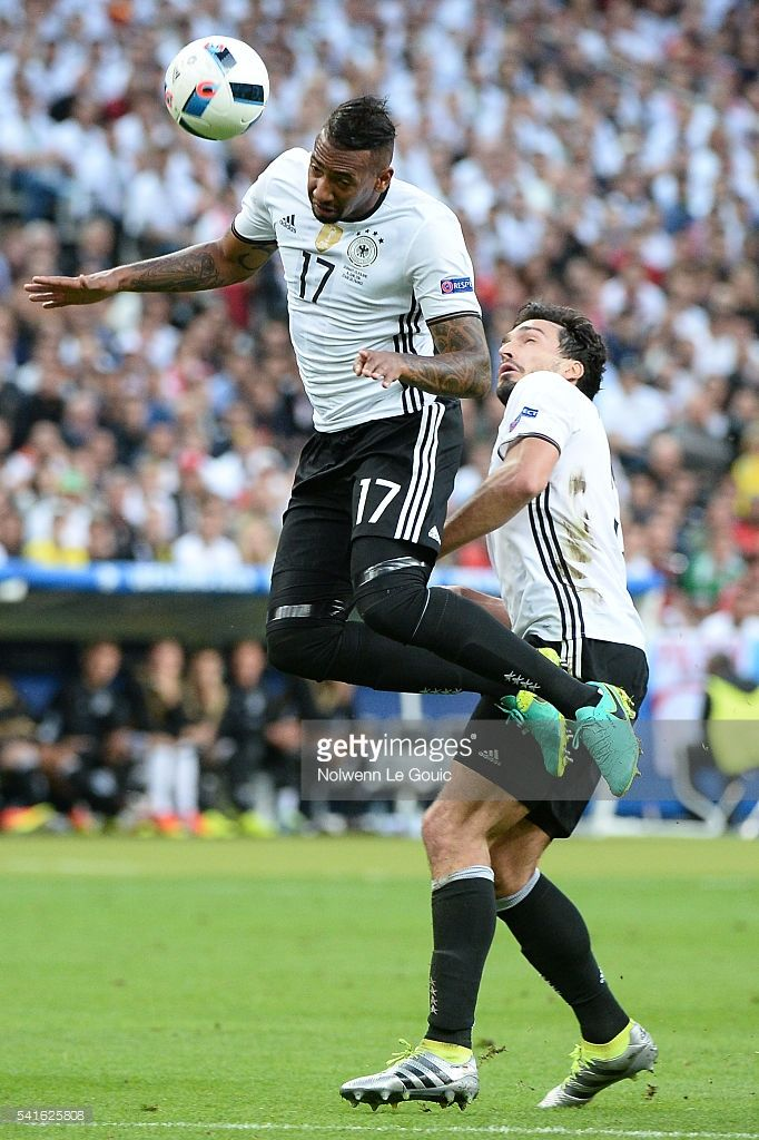 Jerome Boateng and Mats Hummels of Germany during the UEFA EURO 2016 Group C match between Germany and Poland on June 16, 2016 in Paris, France.