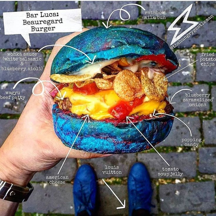"""Straight madness! Celebrating the New Year in grand fashion with the Willy Wonka burger at Bar Luca in Sydney!  This whimsical burger named the """"Beauregard"""" after Violet Beauregard from the movie was inspired by the 3-course dinner that turned her into a giant blueberry! This burger somehow really worked! Chef Sarah & James are killing it & they are obviously not afraid to step outside the box- Respect!  Courtesy: The Hungry Gentleman 