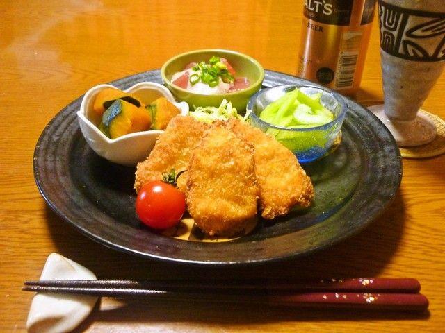 ✿おつまみちょい夕食✿  ・塩麹で驚きの柔らかさ☆鶏むねカツ!  ・麺つゆで美味しい♡まぐろの山かけ ・かぼちゃ煮物