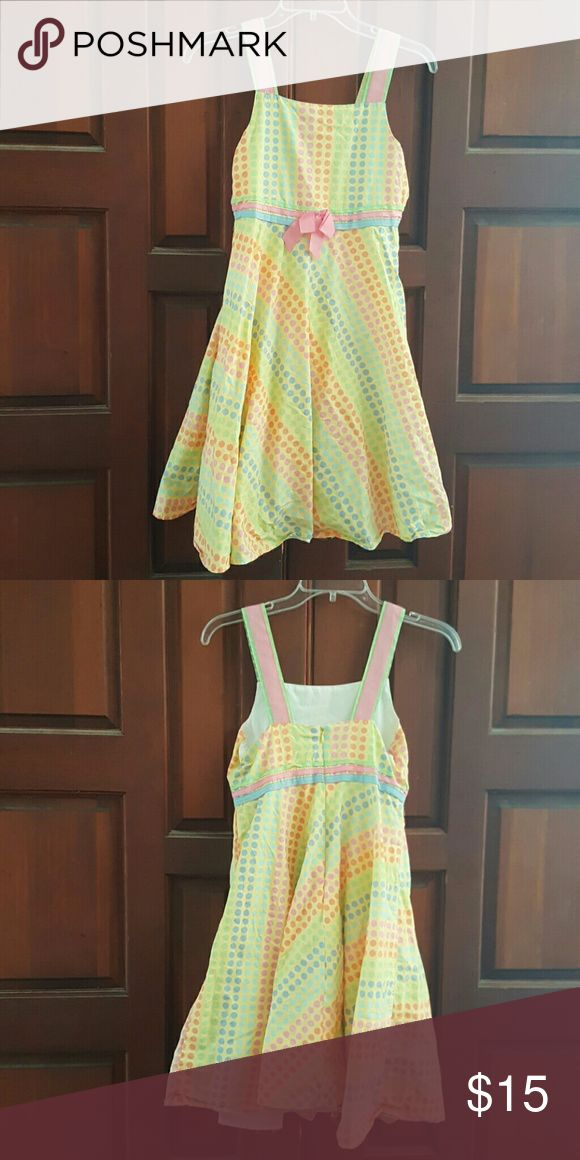 Girls yellow polka dot spring dress Girls yellow polka dot spring dress.  This is just too cute!!  This dress is lined underneath.  Comes from a smoke free home. Dresses Casual