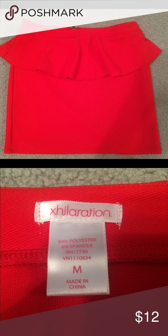 Bright red peplum skirt Brand new and never worn. Has some stretch and room if needed. Like new condition. Xhilaration Skirts Mini