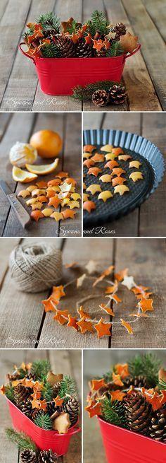 A decorative basket with star-shaped, dried orange peel.