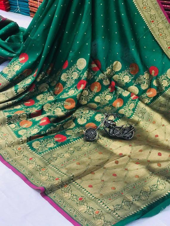 traditional saree,saree dress,saree wedding saree Green soft Lichi Silk Saree and blouse for women designer saree sari, Indian saree