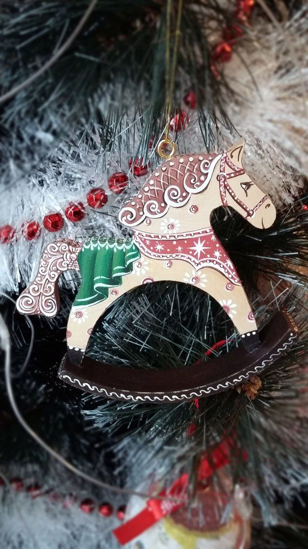 Christmas tree. Handpainted Christmas horse