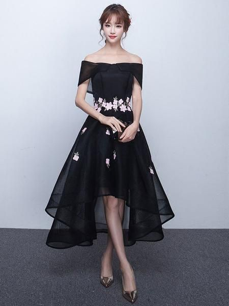 Black hi-low style formal dress with off shoulder neckline, accented with cherry blossom sprinkled around the waist and skirt. This dress is made to order and turn around time is around 4-7 weeks. If