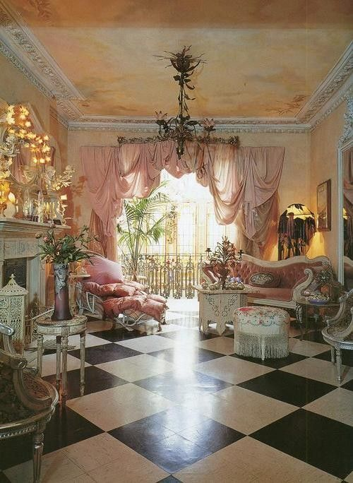 Lush, elaborate, Victorian style room! Window treatment is amazing. Love ceiling molding, ceiling paint treatment, chandelier, all the pink and white.