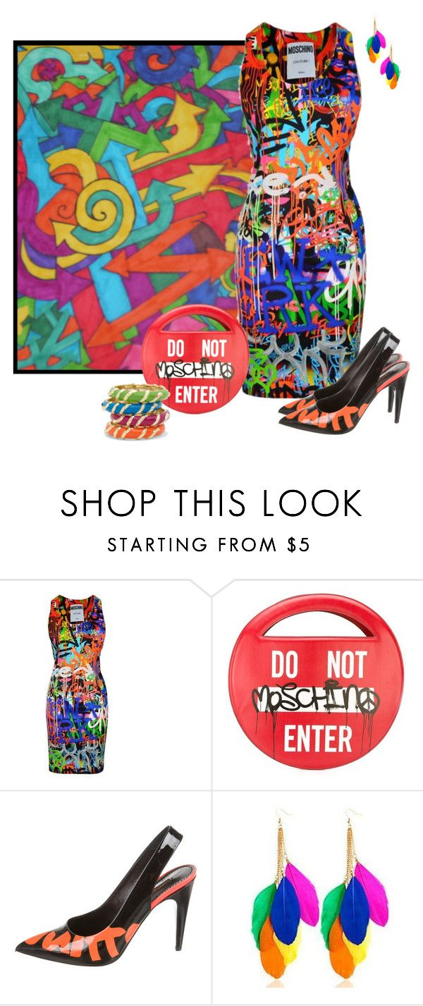 """""""~Moschino~ Graffiti Print Dress ~"""" by justwanderingon ❤ liked on Polyvore featuring Moschino, Louis Vuitton, Sunset Hours, Sequin and graffiti"""