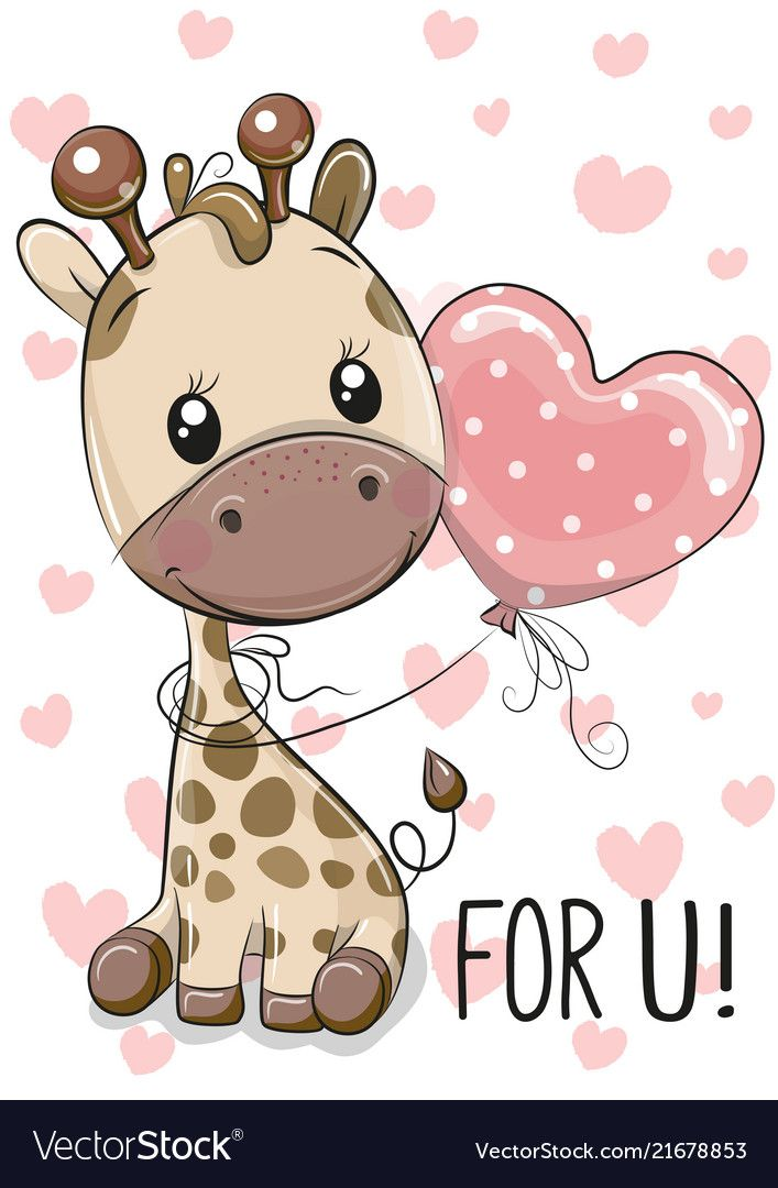 Giraffe With Balloon On A Hearts Background Vector Image On