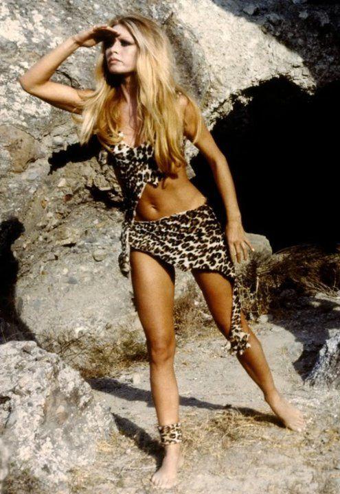 Brigitte Bardot in a wild leopard print two piece