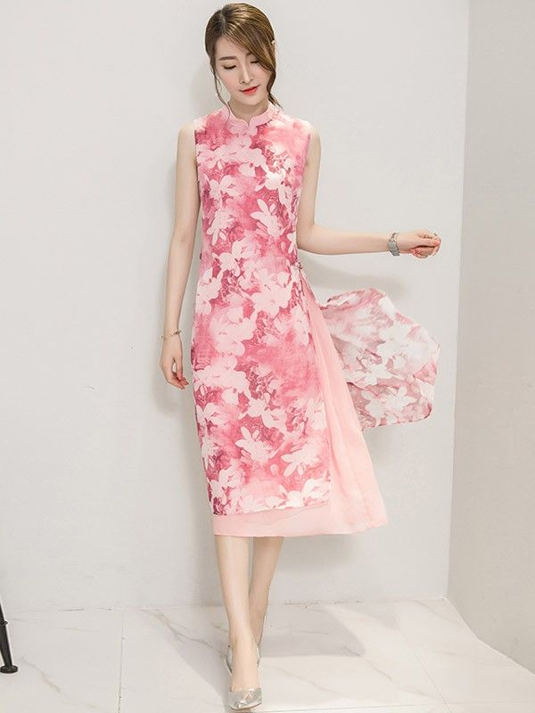 Tea Length Qipao / Cheongsam in Floral Print