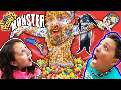 CEREAL MONSTER SCARE CAM! Fruity Pebbles + Glue + Dallas the Pizza Guy + Ferret (FUNnel Vison Vlog) - Where Starts