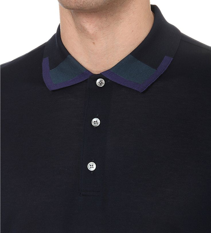BRIONI - Colour-accented cotton-piqué polo shirt | Selfridges.com