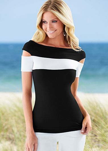 Black & White (BKWH) Color Block Top $22 Cold shoulders, striking color blocking and a sexy fit will make this your hottest top. ·  	Boatneck neckline   ·  	Viscose/elasthane   ·  	Imported   ·  	Style #Z34069