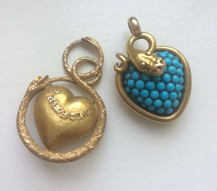 Gold and turquoise charms pendants