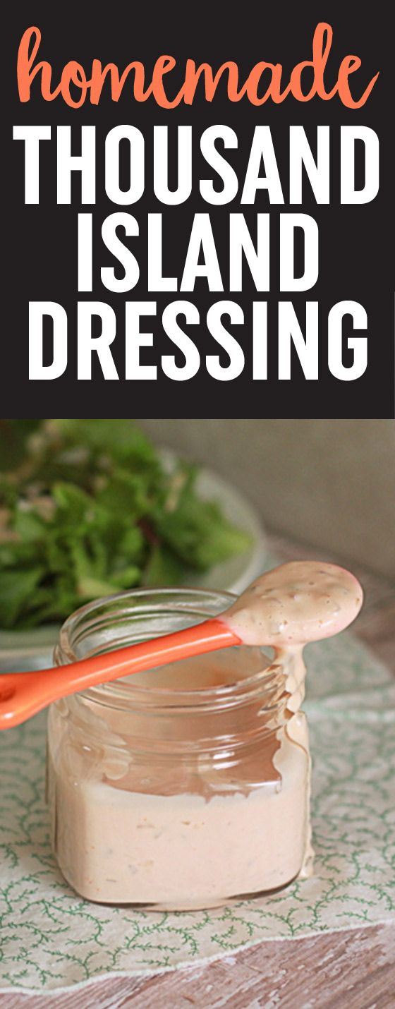 """Homemade Thousand Island Dressing recipe - Five minutes and a little chilling time in the fridge, and you've got a tangy, zesty, """"secret"""" sauce that's equally at home on a piled-high burger as it is atop a nice, simple bed of greens. It's far less expensive than store-bought and it tastes, well, a thousand times better. Vegan option."""