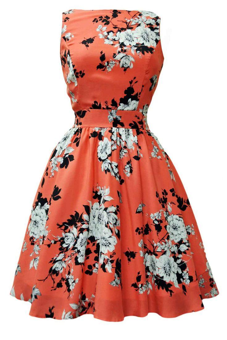 Coral Pink Floral Tea Dress - sept wedding??