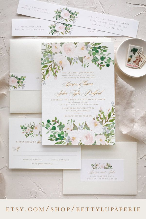 Blush Watercolor Wedding Invitation Suite Floral Floral Wedding