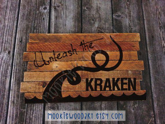 Kraken Pirate Davy Jones Locker painting on by MookieWoodArt