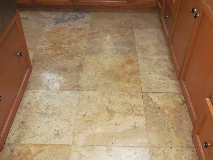 Travertine kitchen floor tiles