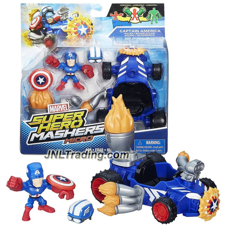 Hasbro Year 2015 Marvel Super Hero Mashers Micro Series 2 Inch Tall Figure Set - CAPTAIN AMERICA RACER with Captain America, Helmet and Shield
