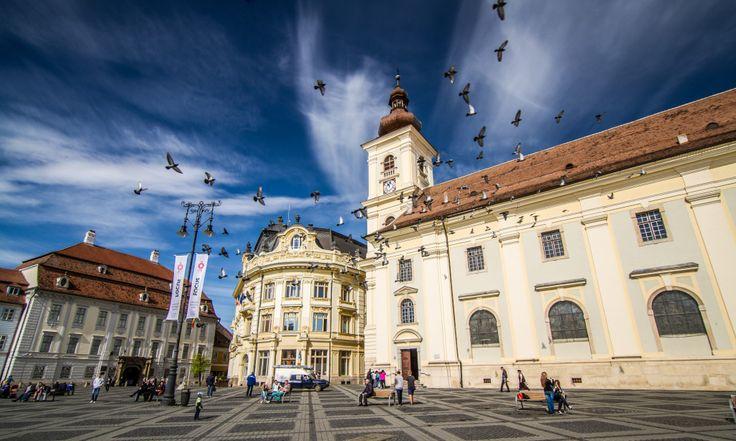 The Roman Catholic Church view from Big Square in Sibiu Romania