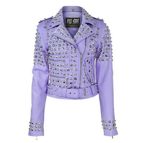 Studded leather jacket lila paars