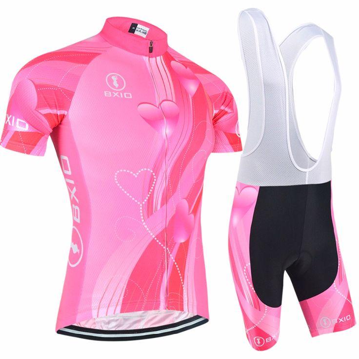 Bxio Women Pink Cycling Jersey Set 2017 Short Sleeve Mtb Road Bike Clothing Roupas De Ciclismo Equipacion Outdoor Sportwear 123