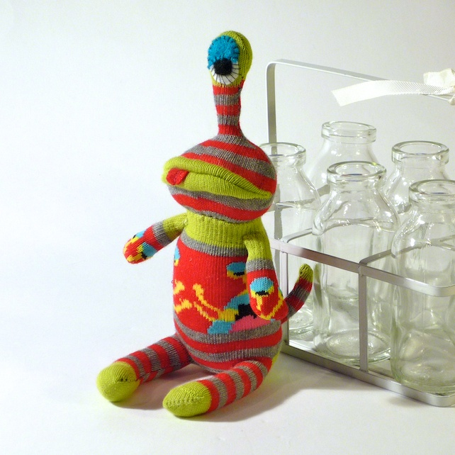 One Eyed Sock Monster Alien - red, lime & grey £7.00 by OddSox