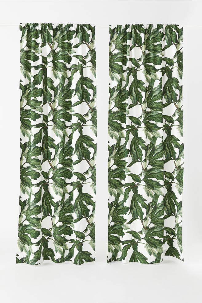 2 Pack Curtain Panels Natural White Fig Leaf Home All H M Us 2 Curtain Patterns Floral Pattern Wallpaper