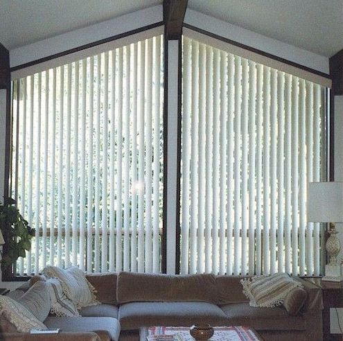 Angle top angle bottom and triangle window treatments for Ceiling to floor blinds