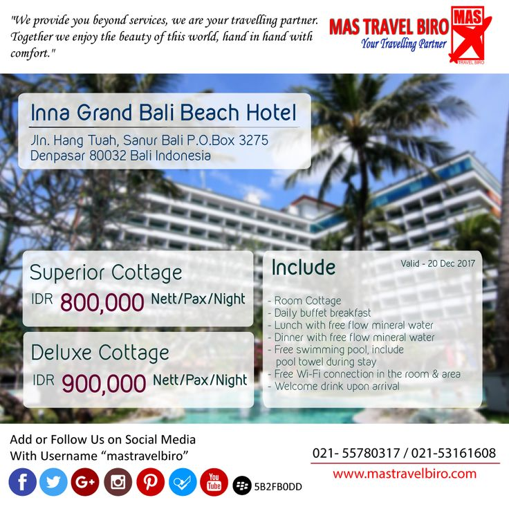 Menginap di Inna Grand Bali Beach Hotel Hanya Rp 800.000/Malam Nett , Yuk Pesan ! ;) #mastravelbiro #promo #hotel #bali #sanur
