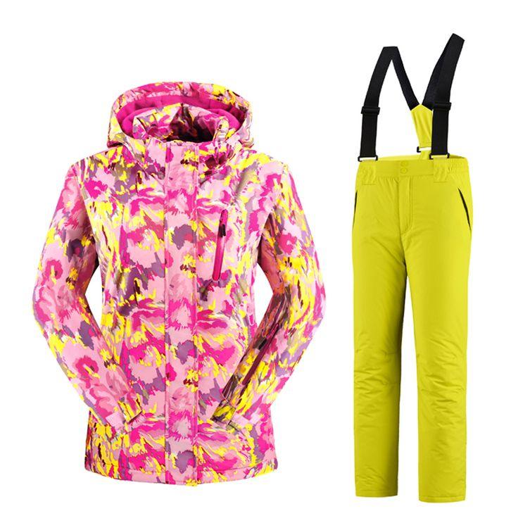 Waterproof Girls Ski Suit  Kids Camouflage Ski Jacket Ski Pants Windproof Snow  Jacket -30 Degree KL-7081