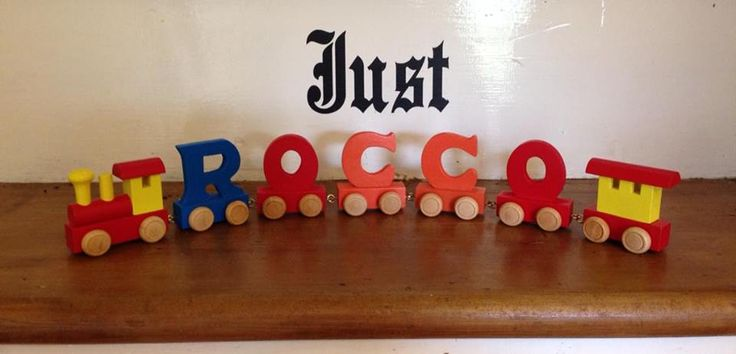 These make fab gifts for many occasions.Available in coloured pieces or I have another listing for the natural wooden ones tooPrice is per piece so for example if you wanted ROCCO with a train in front and a carriage behind you would need to select 7 in the number box and add the letters to the personalise box on the right.